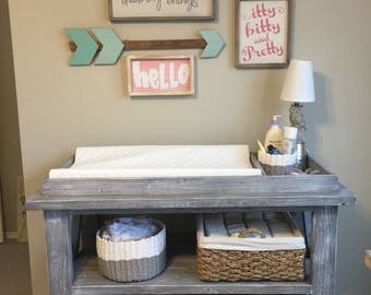Baby Ivie Rustic Changing Table - Rustic Changing table, Barn wood weathered gray, nursery furniture
