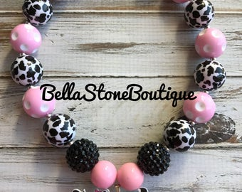 Pink polka dot ,black cow chunky necklace. Childrens jewelry. Bubblegum necklace. Cow necklace. Chunky necklace.Rts.Fast ship.