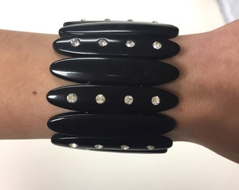 Vintage Art Deco bracelet//rhinestones//gatsby