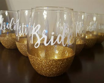 Glittered Stemless Wine Glass