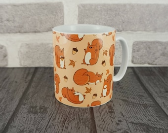 Red Squirrels Cute Woodland Autumn Fall Fat Squirrel Animal Patterned Mug
