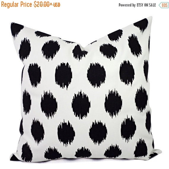 15% OFF SALE Black White Ikat Pillow Covers - Two Black and White Pillows - Polka Dot Pillows - Black Polka Dot - Pillows - Decorative Pillo