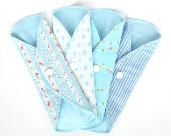 Set of 4 Cloth Panty Liners  7.5inch White Stripy day  cotton flannel