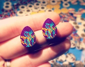 Drills wooden earrings