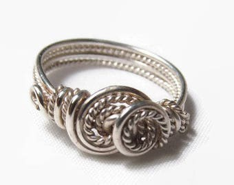 Sterling Silver Twist Ring, Size 4 5 6 7 8 9 10 11 12 13 14, Fashion Ring, Rope Ring, Double Swirl Ring, Handcrafted Jewelry