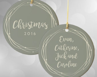 Personalized Ornaments, Family Christmas Ornament, Christmas 2016, Personalized Christmas Decor, Wreath Christmas Ornament, Custom Name Gift