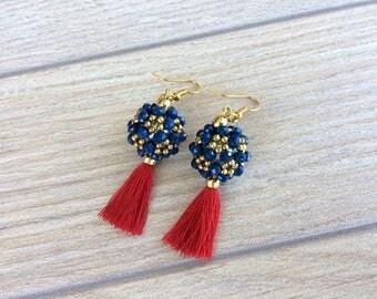 Boho Jewelry, Beaded Ball Earrings, Tassel Jewelry, Statement Earrings, Beadwork Dangle Earrings, Prom Jewelry, Mother's Day gift