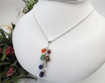 7 Chakra Necklace, Wire Wrapped Chakra Necklace In Sterling Silver, Chakra Jewelry, Meditation jewelry, Chakra Pendant, 15-22 Inches