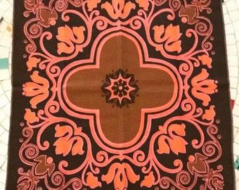 Retro 1960's Danish Modern Set of 4 Cloth Napkins, Vintage Table Linens, Bright Pink, Orange & Brown, Four Dining Table Napkins