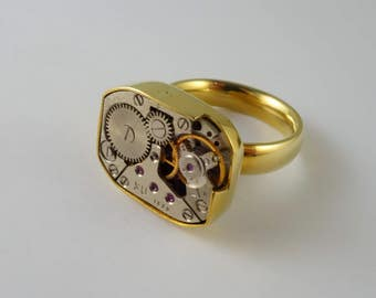 One of a Kind Watch Movements RIng! Yellow Brass and Watch parts - Size 8, Free shipping in US!