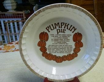 "royal china jeannette 10 1/2"" pumpkin pie recipe pie plate"