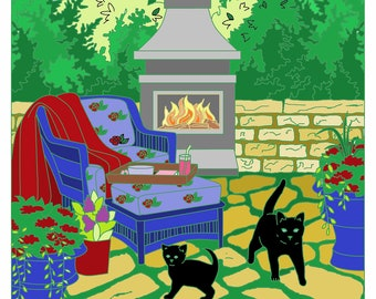 Nature Color Page, Backyard, Kittens Coloring Page, kitchen Wall Art,
