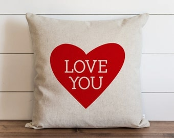Love You 20 x 20 Pillow Cover // Valentine's Day // Everyday // Throw Pillow // Gift // Accent Pillow // Cushion Cover
