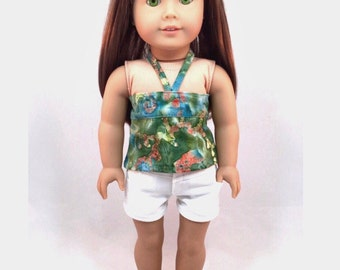 "18 inch Doll Clothes ""The Gwen"" Eco-Friendly Batik Bandeau Top, High-Waisted Shorts, platform shoes to fit ""American Girl"" doll"