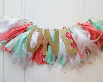 High Chair Banner Girl...First Birthday Banner...Tissue Paper Tassel Garland...Mint Coral and Gold Birthday Party...1st Birthday Banner