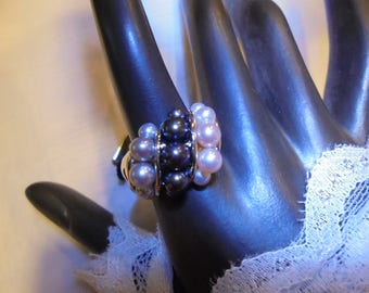 Sterling Silver  Honora  Multi colored Pearls  Ring