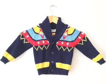 Vintage 1970's Baby NoVeLty HiPPiE HiPsTeR Acrylic Cowichan Shawl Collar Cardigan Grandpa Sweater