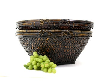 Vintage Chinese Hand Woven Bamboo Basket 16 inches Diameter / Asian Round Basket Bowl