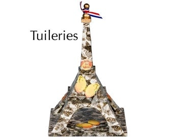 """Eiffel Tower - """"Tuileries"""" - Butterfly tape and ornaments on wood - Mixed media art piece"""