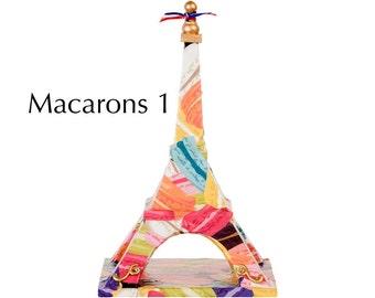 "Eiffel Tower - ""Macarons 1"" - Decoupage on wood - Mixed media art piece"