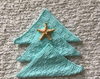 Baby Washcloths - Bath Cloths - Hand Knit Mint Green Cloths - Kids Bath Cloths- Face Cloths - Cotton Cloths - Spa Cloths - Baby Shower Gift