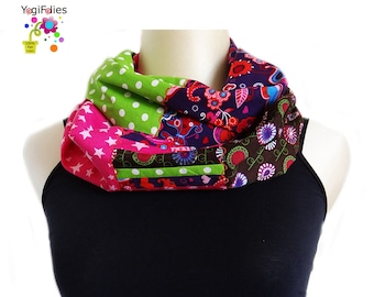 patchwork infinity scarf, patchwork cowl, patchwork scarf, dots infinity scarf, dots cowl, dots scarf, flower infinity scarf, star scarf