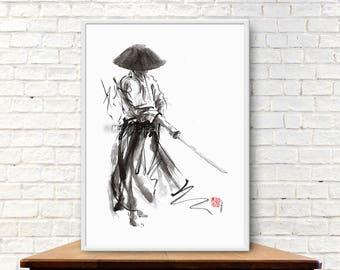 Samurai, Bushido Code, Ronin, Samurai Warrior, Japanese Katana, Samurai Sword, Ink Painting, Abstract Art, Surreal Painting