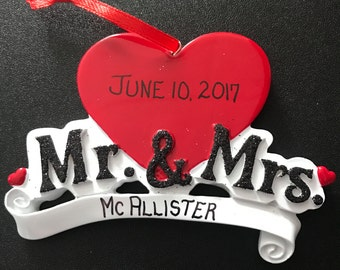 Mr. & Mrs. Wedding Personalized Christmas Ornaments