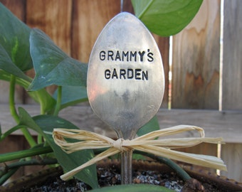 GRAMMY'S GARDEN - stamped garden spoon - garden marker - silver spoon - plant pick -  repurposed spoon - plant marker - Grammy hand stamped