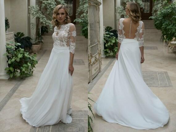 Bridal Gown Milora Unique Wedding Gown Simple Wedding: Beach Chiffon A-line Wedding Dress L19 With By