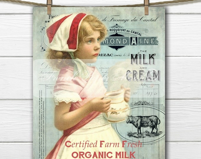 Digital Vintage French Milk Graphic, French Milk Girl, French Dairy Typography, Vintage Kitchen, Instant Download Fabric Transfer