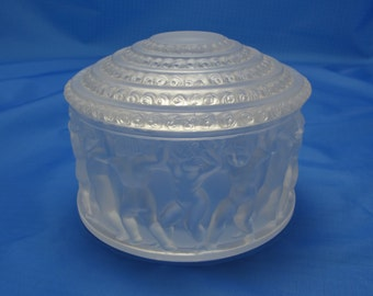 """Vintage Signed Lalique """"Enfants"""" Lidded Container(Powder Jar) France Art Deco Excellent"""