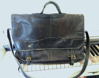 Vintage, Black Leather, Satchel, Small Shoulder Bag, Briefcase/Attache