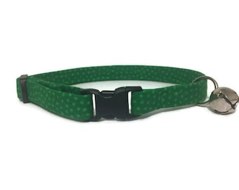 Sale, Clearance, Cat Collar, Green with Green Polka Dots