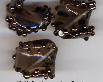 Vintage Czech glass bead, smokey with gold dots, 12 x 18mm A011L