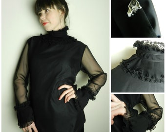 60's SEMI SHEER black polyester high neck Victorian ruffle blouse governess u.k. 12 - 14 m