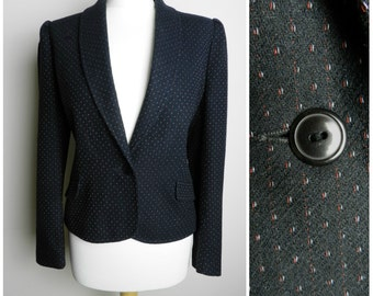80's WOOL black red + white FLECKED fitted tailored jacket pockets puff shoulders u.k. 12 - 14 M