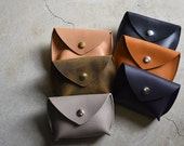 Leather Coin Pouch -  Handmade leather coin purse - Leather wallet