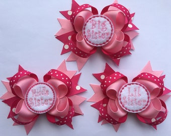 Big, Middle or Little Sister Bow you choose one! - Big Sister hairbow - middle Sister Hairbow - Little Sister Hairbow
