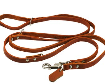 """6 Way Euro Multifunctional Thick Leather Dog Leash Adjustable Schutzhund Lead 49""""-94"""" Long 1/2"""" Wide (10 mm) Small"""