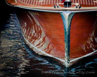 Lake house decor, Nautical decor, Boat art, Wooden boat photography, Beach house, Chris Craft boat, Coastal decor // Wood & Chrome boat bow