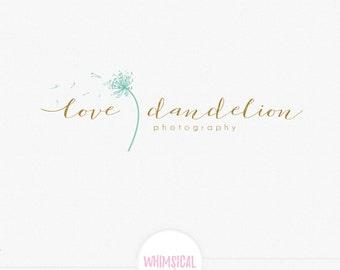 signature  dandelion logo -  Premade Photography Logo and Watermark, Classic Elegant Script Font gold glitter watercolor Calligraphy Logo