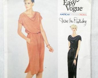 Vogue American Designer Original Diane Von Furstenberg Sewing Pattern 2333 CUT 1970s Size 12 Misses' Dress Belt Very Easy Vogue Vintage