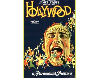 Hollywood  1923 James Cruze Movie Vintage Poster Retro Style Movie Film Noir Art Print Free US Post Low CA & EU Post