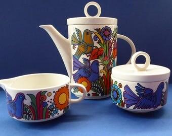 ACAPULCO Breakfast Set: Small Coffee Pot, Shallow Milk Jug and Lidded Sugar Bowl