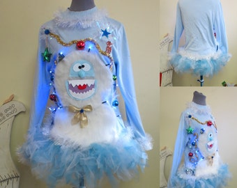Holly Jolly Happy The Abominable Snowman Sweater Light UP  Sweater, Tacky Ugly Christmas Sweater, womens Large, light up Sweater with Tutu