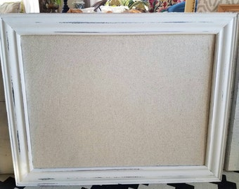 Farmhouse Bulletin Board White Distressed Shabby Chic Framed Pin Board Neutral Linen Fabric Magnet Board Many Size Long and Narrow