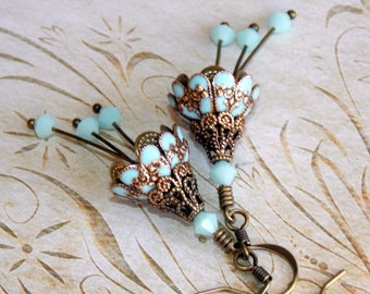 Pale Aqua Blue Victorian Style Earrings, Aqua Earrings, Victorian Flower Earrings, Vintage Style Earrings, Boho Earrings, Dangle Earrings