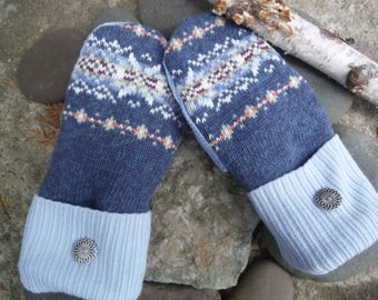 Cozy Sweater Mittens, Blue fair isle pattern mittens, made from upcycled recycled sweaters, fleece lined