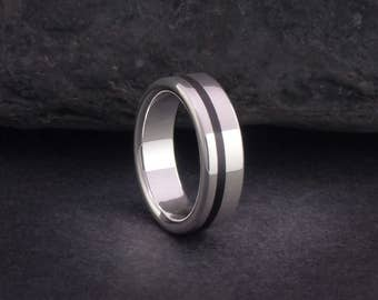 Wooden ring or wood wedding bands, sterling silver and wood ring or wedding bands, wood ring for men and women, EU UK US size